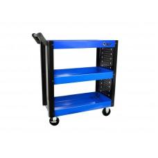 Celokovový pojazdný manipulačný stolík - vozík, 3 poschodia
