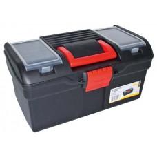 Plastový kufor na náradie 394 x 215 x 195 mm, s 1 priehradkou a 2 zásobníky - MAGG PP163