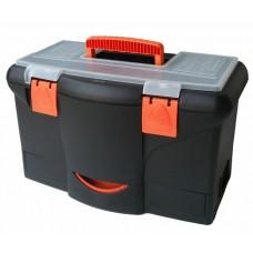 Plastový kufor na náradie 450 x 290 x 260 mm, s priehradkou, zásuvkou a zásobníkom